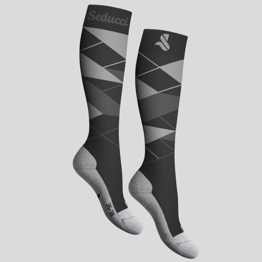 Horse riding Equestrian socks - argyle ag grey