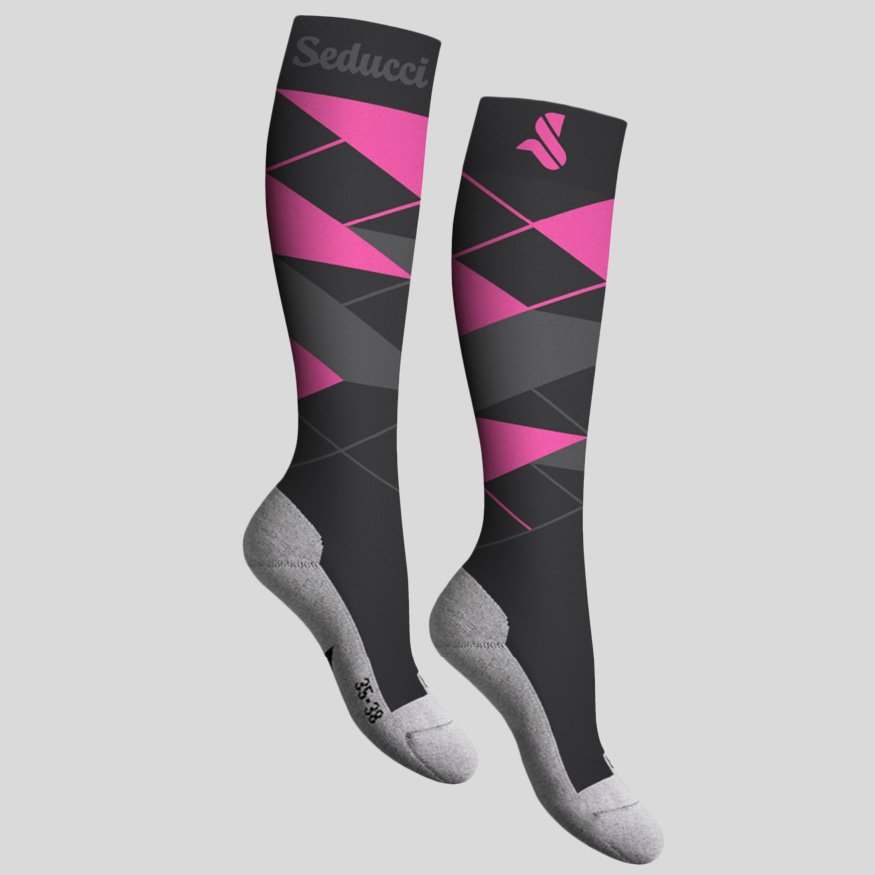 Horse riding Equestrian socks - argyle ag hot pink