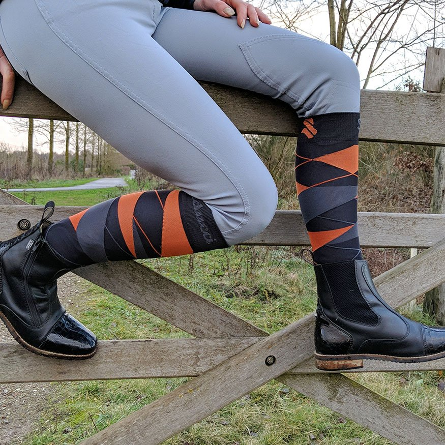 Horse Riding Socks - Argyle Ag orange nant