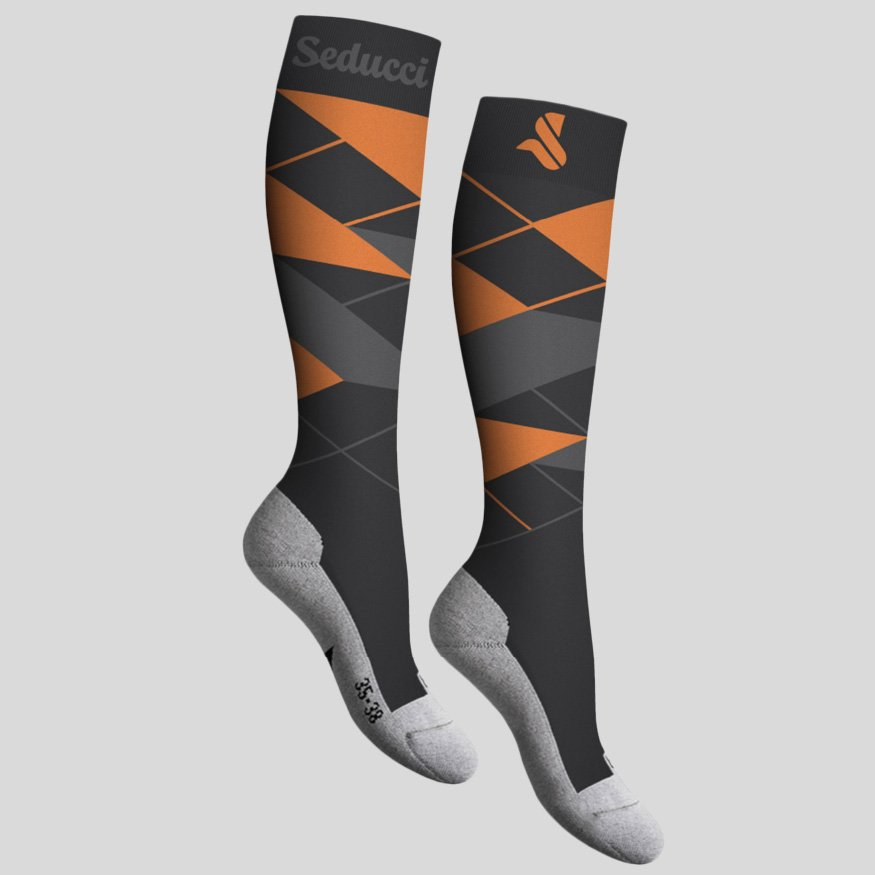 Horse riding Equestrian socks - argyle ag orange