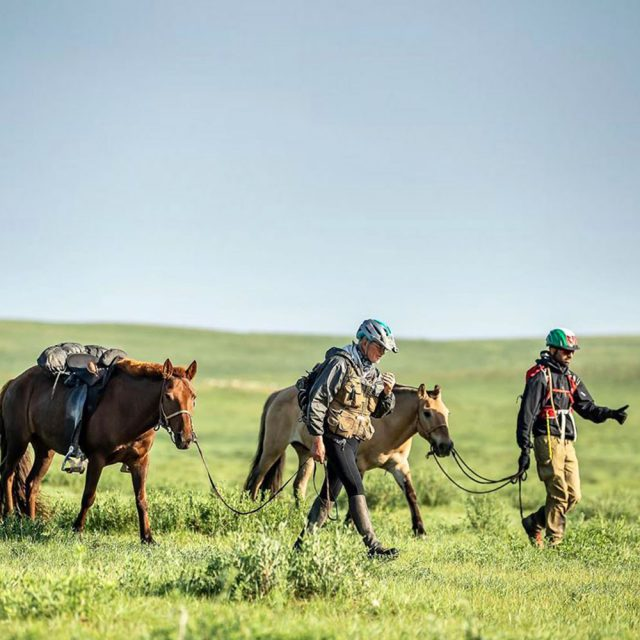 Mongol Derby - walking into the horse station