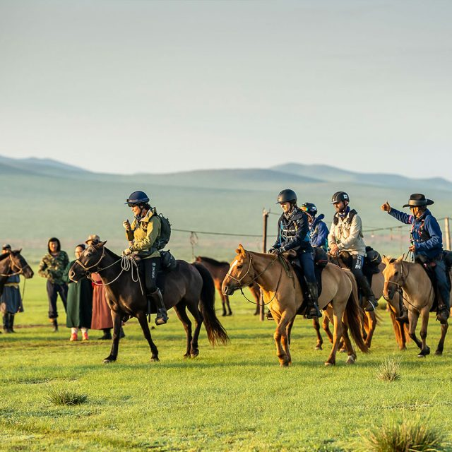Mongol Derby - Margreet leaving camp for another day of riding